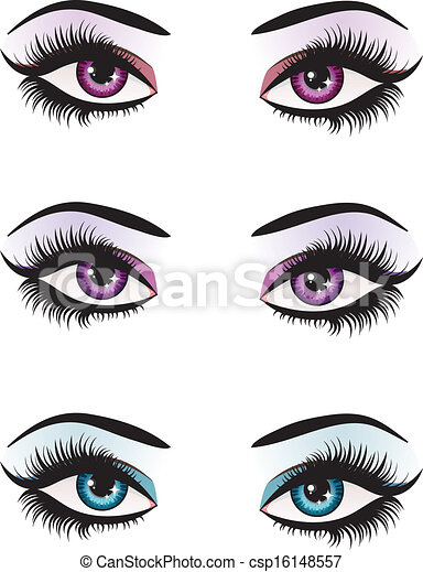 Clipart Vector of Fantasy eyes makeup - Illustration of ...