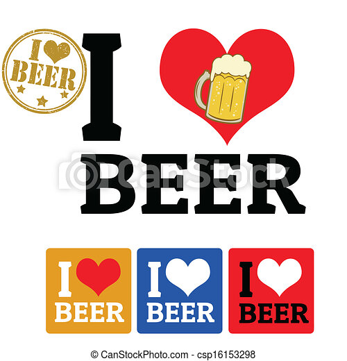 I love Beer sign and labels - csp16153298