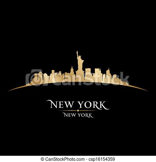 New York city skyline silhouette black background  - csp16154359