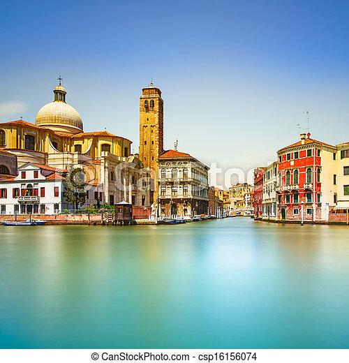 Venice grand canal, San Geremia church landmark. Italy - csp16156074