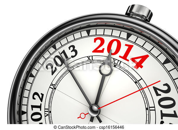 Drawing Of Year Change 2014 Concept Clock Isolated On