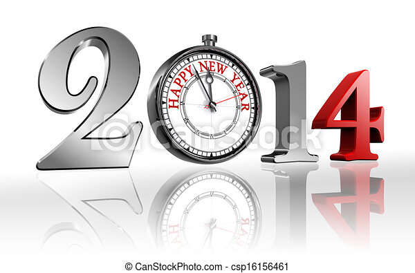 happy new year 2014 clock  - csp16156461