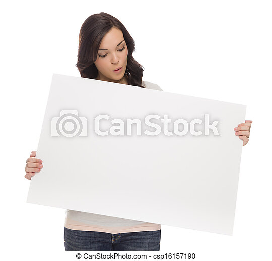 Mixed Race Female Holding Blank Sign on White  - csp16157190