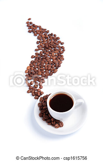 white cup with heat to fragrant coffees and coffee beans - csp1615756