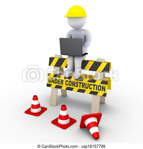 Under construction sign and a worker with laptop - csp16157799