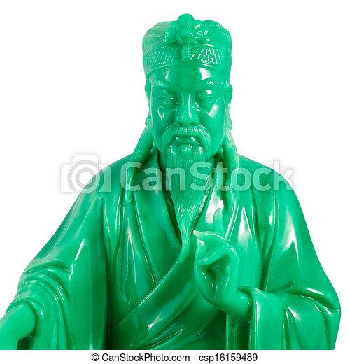 verde, jade, Buddha, isolado, branca, fundo - csp16159489