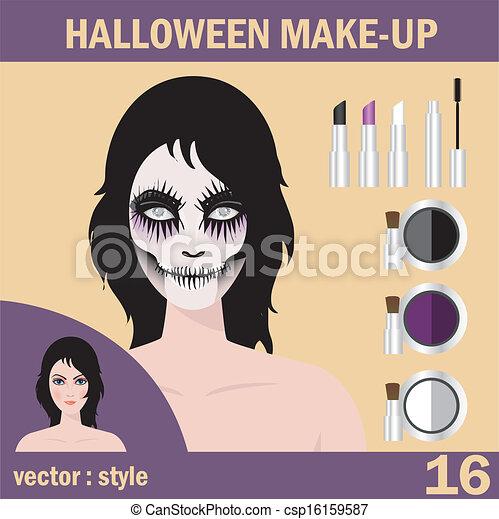 Halloween mask skull face art - csp16159587