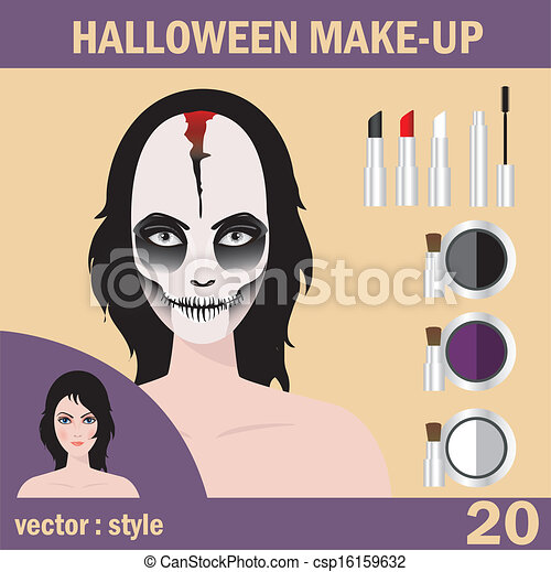 Halloween mask skull face art - csp16159632