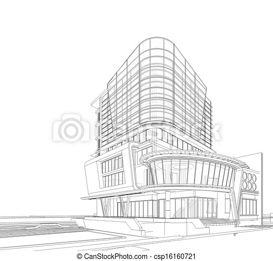 Clip art of 3d wireframe of building 3d wireframe of building csp16160721 search clipart 3d building drawing