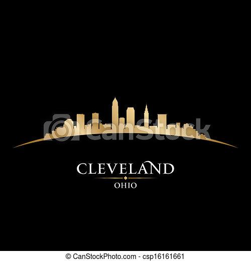 矢量-克利夫兰, 俄亥俄, 城市, 地平线, 侧面影象, 黑色, 背景