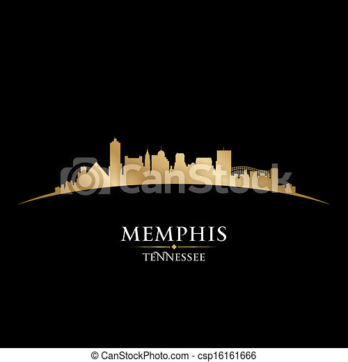 Memphis Tennessee city skyline silhouette black background - csp16161666