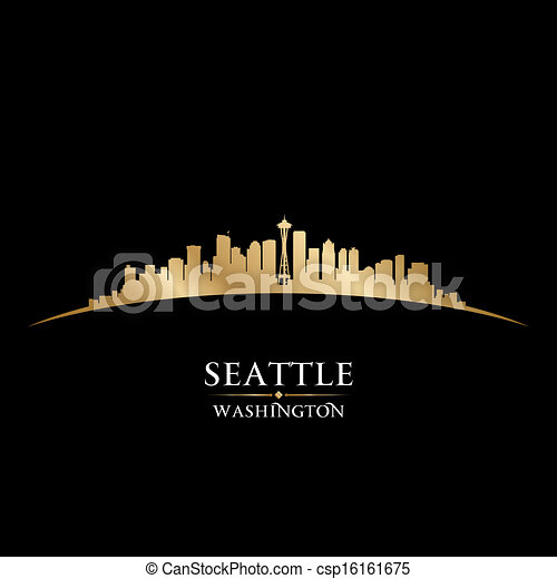 Seattle Washington city skyline silhouette black background - csp16161675