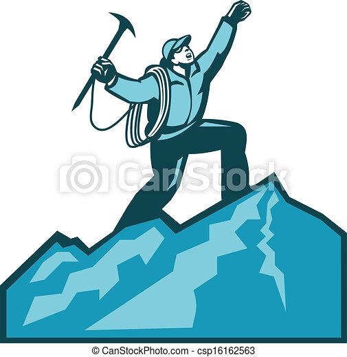 clip art vecteur de montagne sommet grimpeur retro illustration de csp16162563. Black Bedroom Furniture Sets. Home Design Ideas