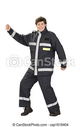 Dancing fireman in overall - csp1616404