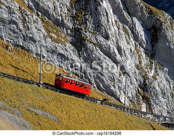 Mountain cogged railway leading to a peak of Mount Pilatus, Switzerland - csp16164298
