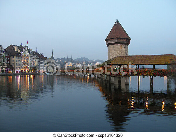 Chapel Bridge of Luzern in Switzerland - csp16164320