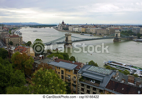 Aerial view of Budapest, Hungary - csp16166422