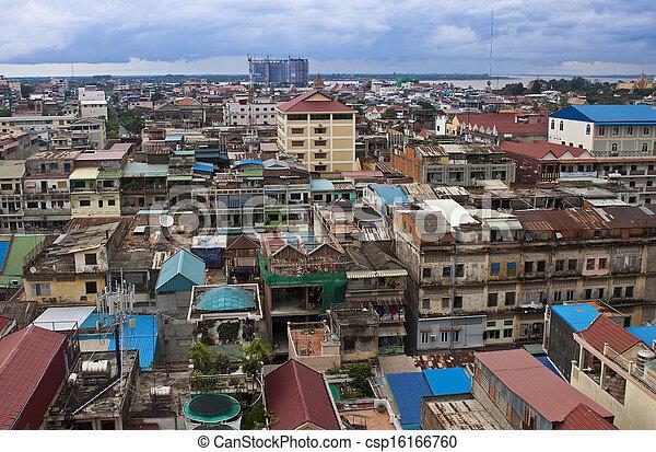 Aerial view of Pnom Penh, Cambodia - csp16166760
