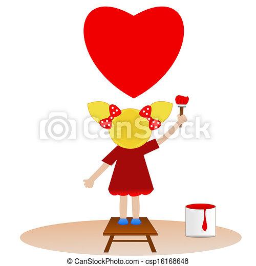 pequeno, menina, delinear, céu, vermelho, Coração - csp16168648