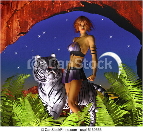 Fantasy Woman with White Tiger - csp16169565