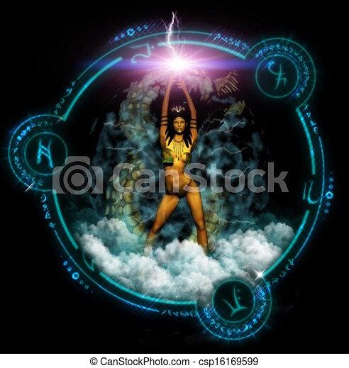 Fantasy Woman With Mystic Symbols - csp16169599