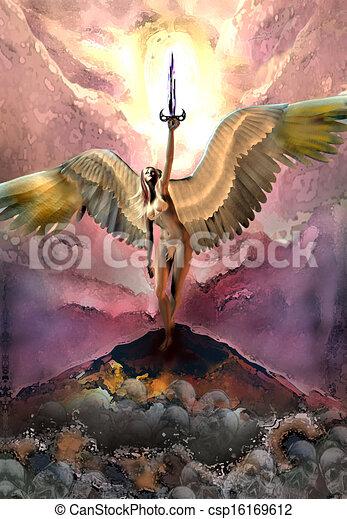 Fantasy Woman Holding Sword - csp16169612