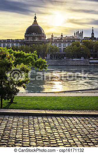 Lyon city at sunset with Rhone river - csp16171132