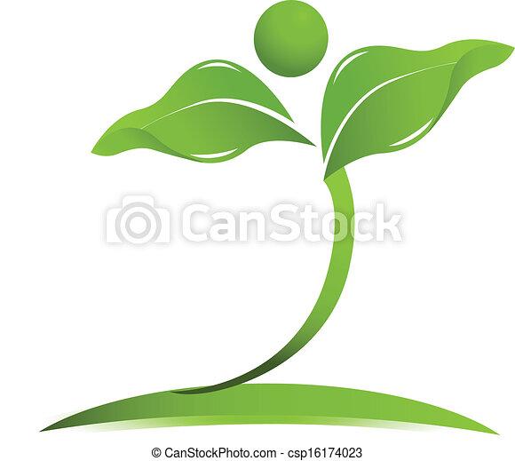 Natural health care logo vector - csp16174023
