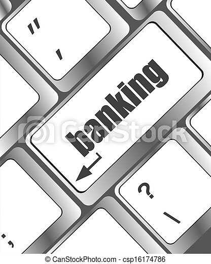Keyboard with enter button banking - csp16174786