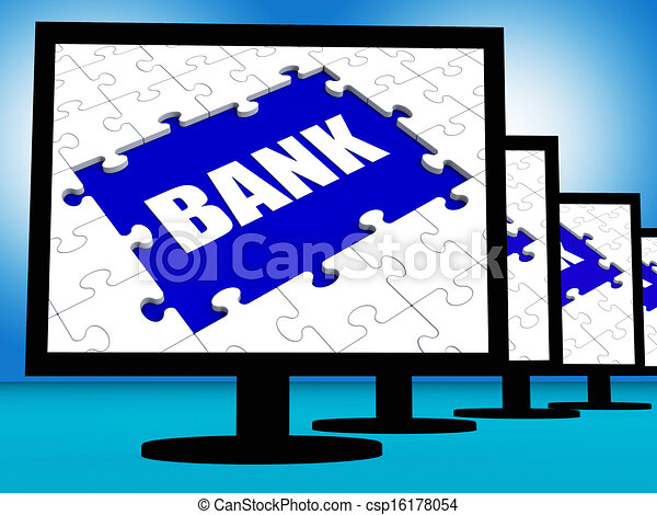 Bank On Monitors Shows Online Or Electronic Internet Banking - csp16178054