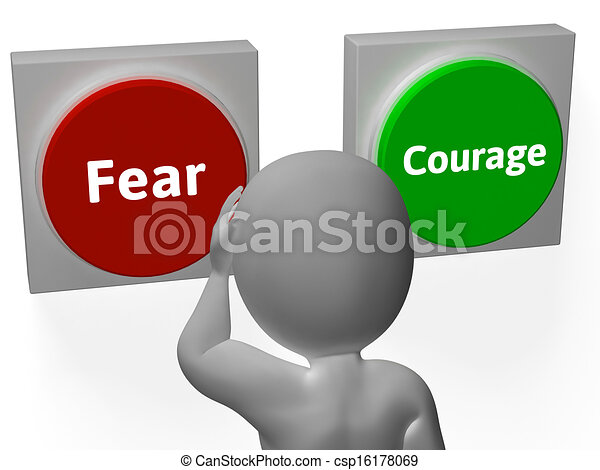 Stock Illustration of Fear Courage Buttons Show Scary Or ...