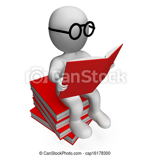 Student Reading Books Showing Studious - csp16178300