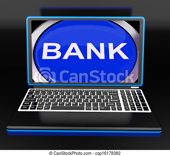Bank On Laptop Shows Web Www Or Electronic Banking - csp16178382