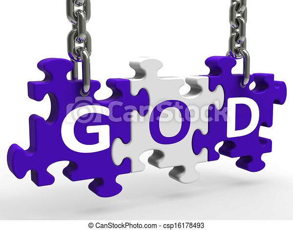God On Puzzle Shows Prayers Gods Or Religion - csp16178493
