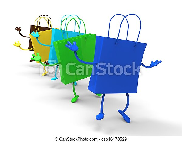 Shopping Bags Dancing Shows Retail Buys - csp16178529