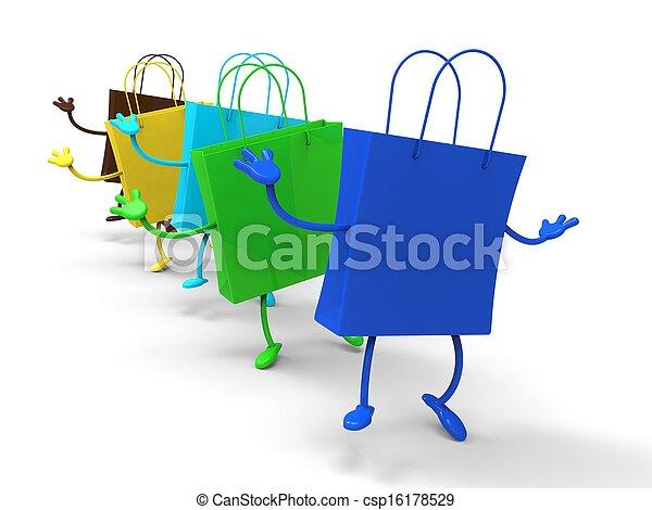 Shopping Bags Dancing Shows Retail Buys - csp16178529