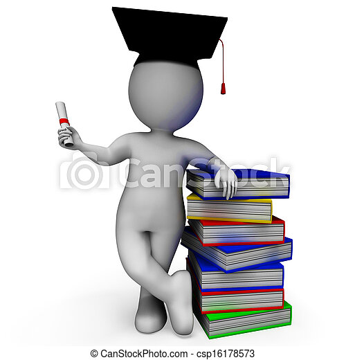 Student With Diploma Shows Graduation - csp16178573