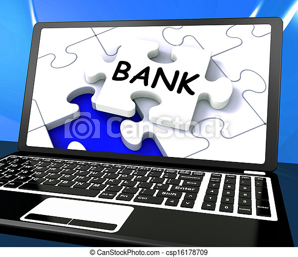 Bank Laptop Shows Internet Finance Www Or Electronic Banking - csp16178709