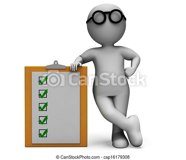 Stock Illustration of Checklist Clipboard Shows Test Questionnaire ...