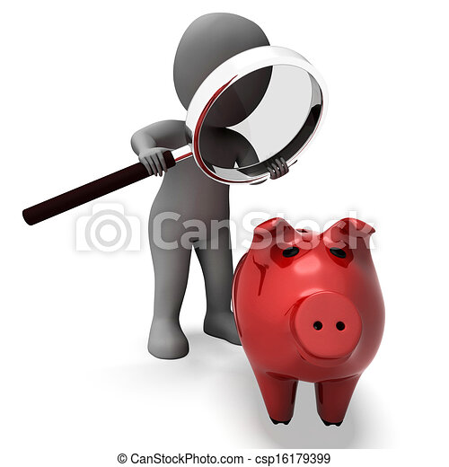 Piggy Bank And Character Shows Savings Finances And Banking - csp16179399