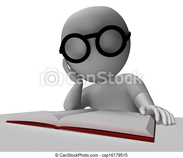 Clipart Of Student Reading Book Shows Research And