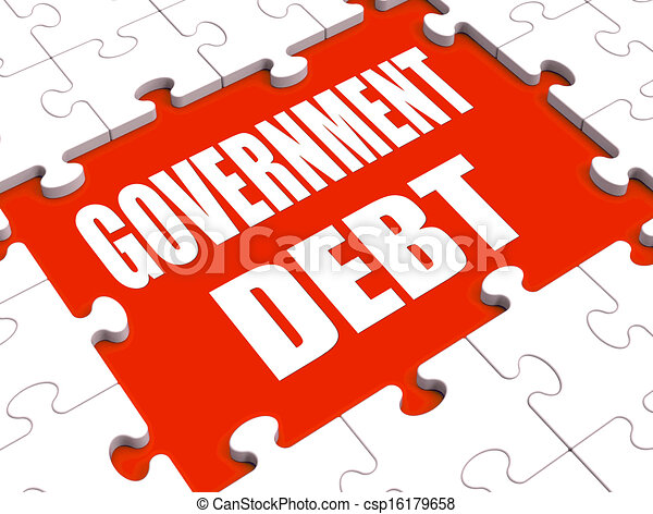 Government Debt Puzzle Shows Nation Penniless And Bankrupt - csp16179658