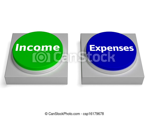 Income Expenses Buttons Shows Profit And Accounting - csp16179678