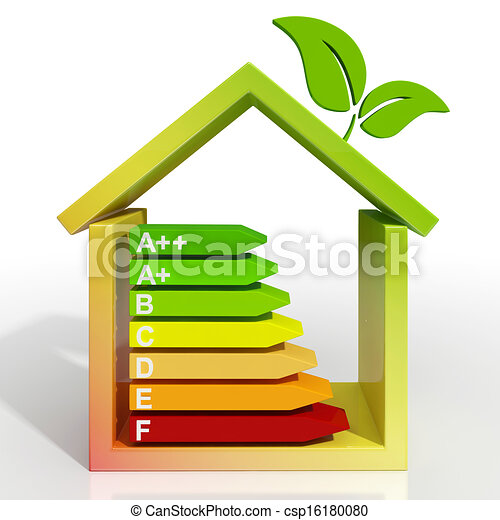 Energy Efficiency Rating Icon Shows Green House - csp16180080