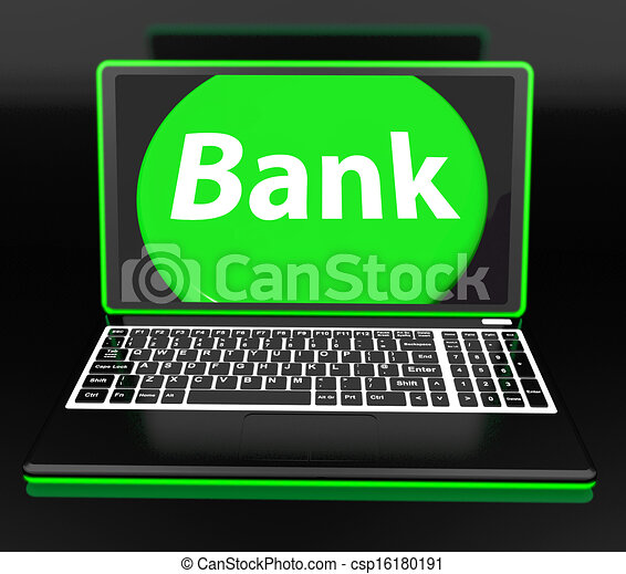 Bank On Laptop Shows Internet Www Or Electronic Banking - csp16180191