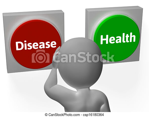 Disease Health Buttons Show Sickness Or Medicine - csp16180364