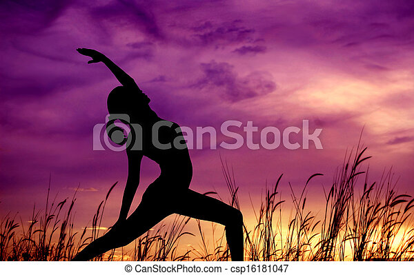 Silhouette woman yoga at outdoor park. - csp16181047