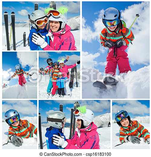 Skiing  winter fun. Happy family - csp16183100