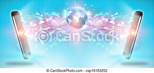 概念, コミュニケーション, 社会, ネットワーク, 媒体, 社会 - csp16183252