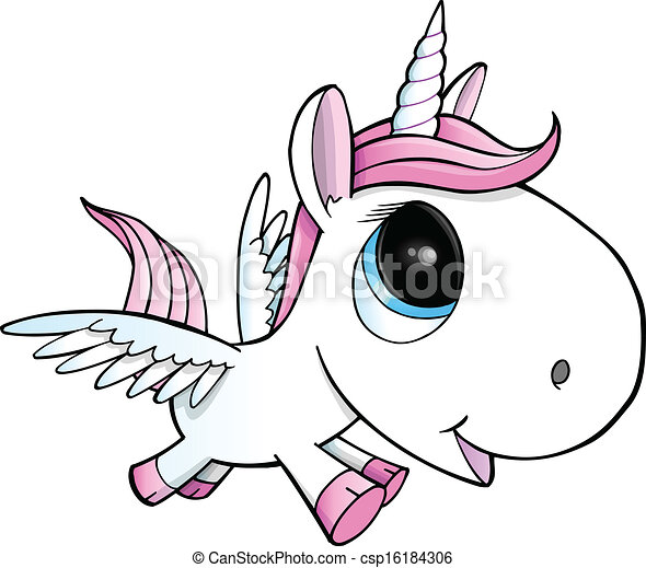 Clipart vecteur de p gase vecteur illustration licorne mignon licorne csp16184306 - Comment dessiner un pegase ...